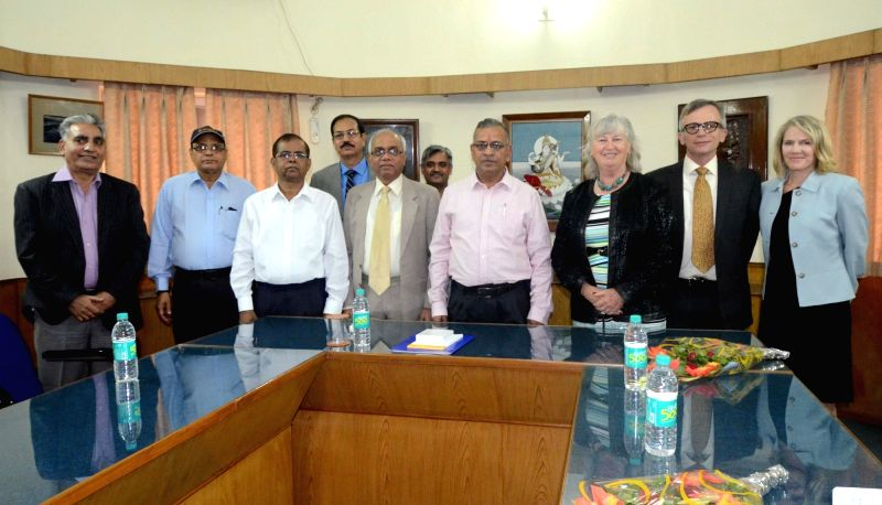A delegation of California University calls on BHU VC G C Tripathi at Banaras Hindu University in Varanasi, on Nov 24, 2015. - G C Tripathi