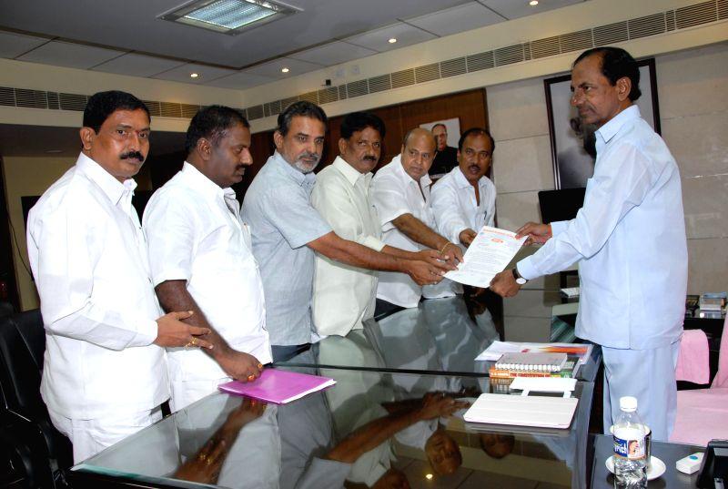 A delegation of teachers meets Telangana Chief Minister K Chandrasekhar Rao at the Secretariat in Hyderabad on June 24, 2014. - K Chandrasekhar Rao