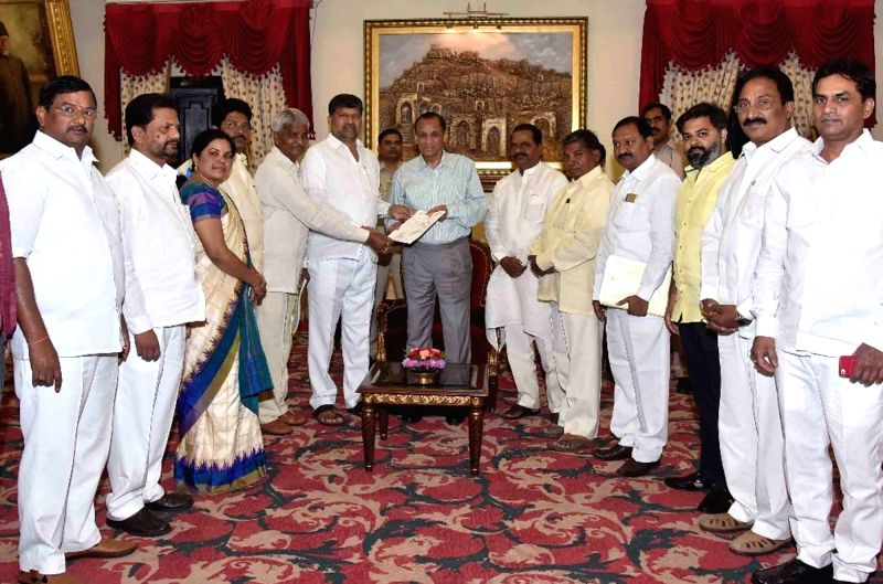 A delegation of Telugu Desam Party (TDP) leaders led by L. Ramana calls on Andhra Pradesh and Telangana Governor E. S. L. Narasimhan, in Hyderabad on July 23, 2018.