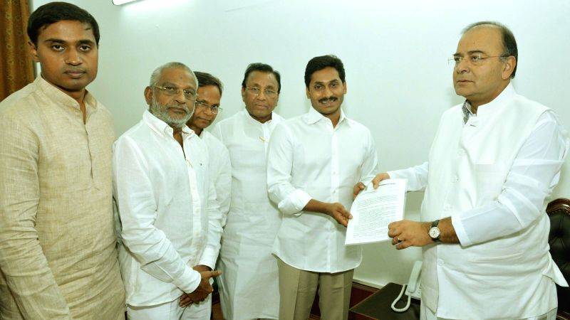 A delegation of Y S R Congress led by party president YS Jaganmohan Reddy meets Union Minister for Finance, Corporate Affairs and Defence Arun Jaitley in New Delhi on July 11, 2014.