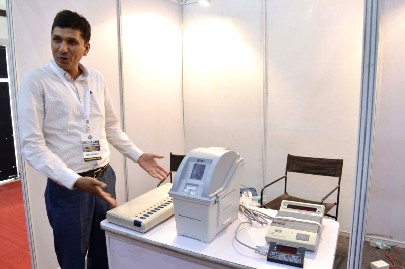 A demonstration of Electronic Voting Machines and Voter-verifiable paper audit trail (VVPAT) underway during an all party meeting called by Election Commision in New Delhi on May 12, 2017.