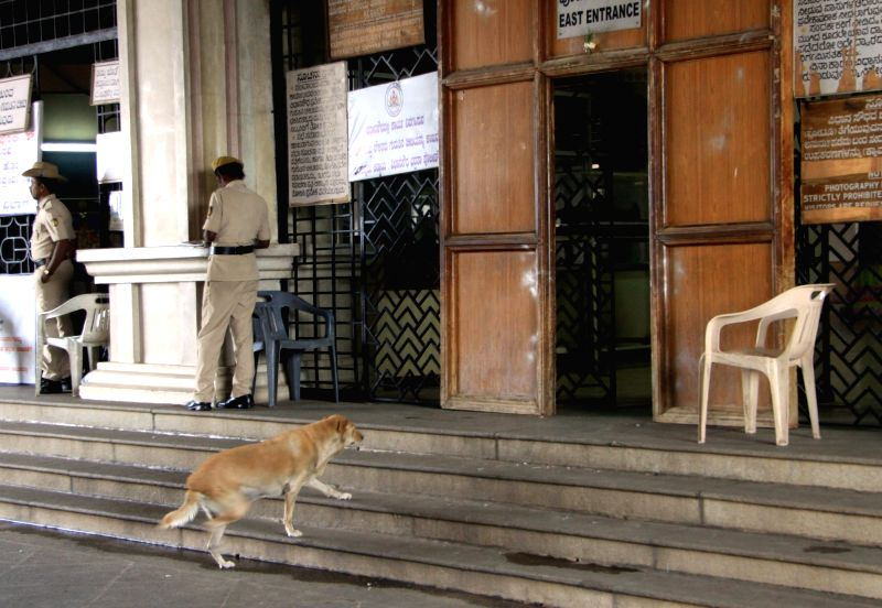 A dog tries to sneak-in the Vidhan Soudha as government employees go on a day long strike to fulfill their various demands, in Bengaluru on June 2, 2016.