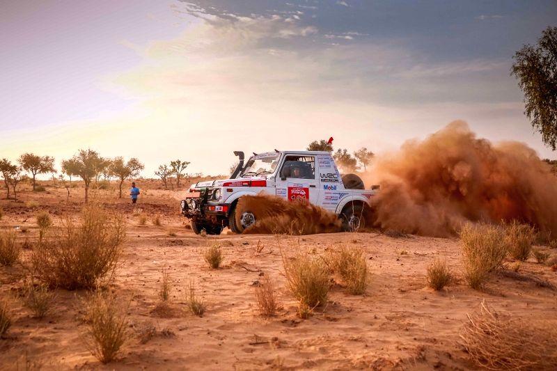 A driver participates in Maruti Suzuki Desert Storm rally in Hanumangarh, Rajasthan. 