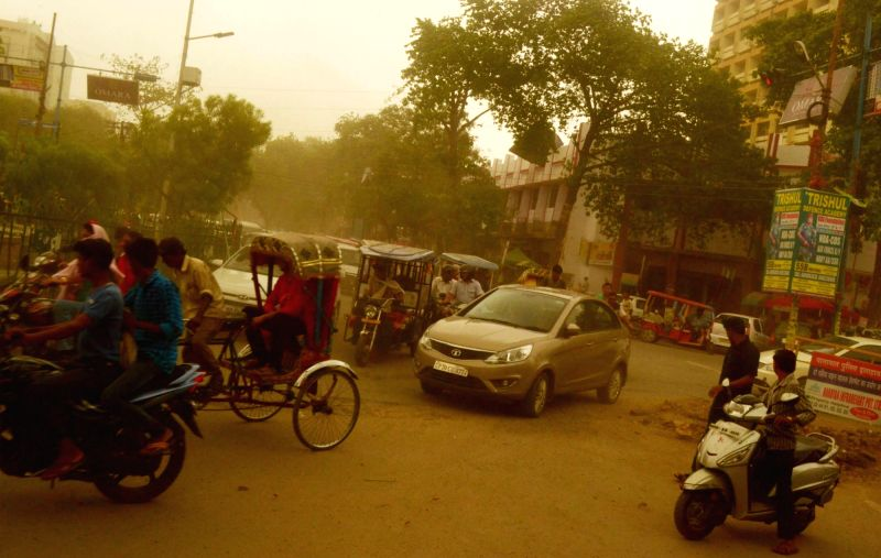A dust storm hits Allahabad on May 25, 2016.