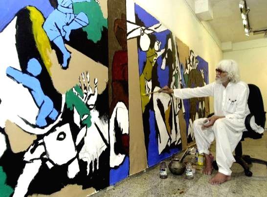 A file photo of artist M.F. Husain. - M.