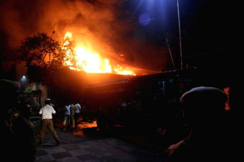 A fire break down at a paint godown in Chennai on April 18, 2017.