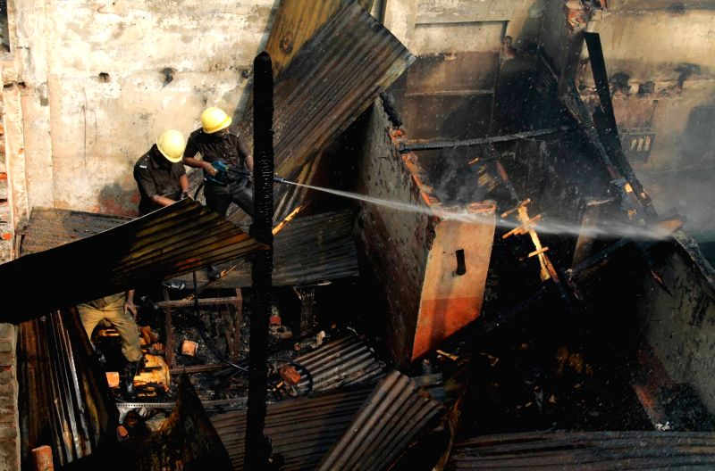 A fire breaks out at Kolkata plastic godown on Nov 28, 2015.