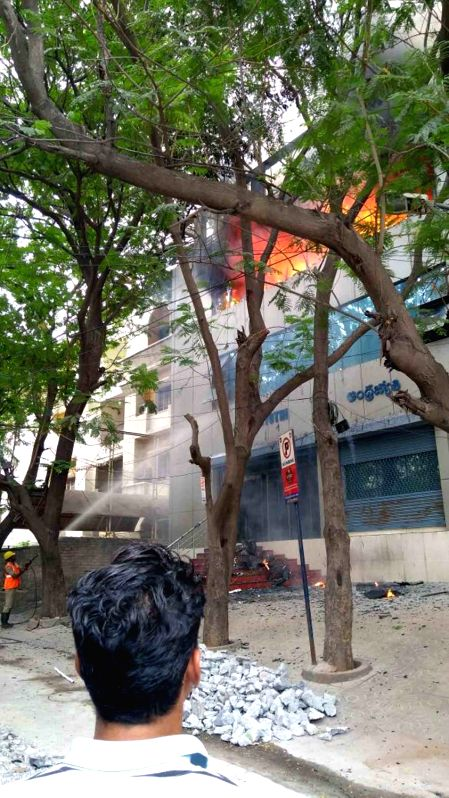 A fire broke out in a Andhra Jyothi Office at Jubilee Hills in Hyderabad on April 29, 2017.