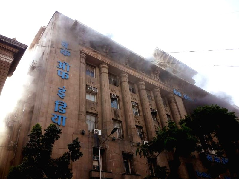 A fire broke out in a Bank of India building in Mumbai on April 21, 2017.