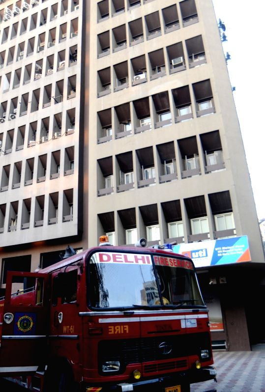 A fire engine parked outside Kailash Building where a fire broke out in Connaught Place, New Delhi on Jan 28, 2018.