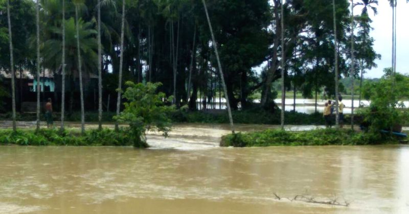A fishery pond at Sikona village in  Meghalaya\'s South West Garo Hills district damaged by flash floods following heavy rainfalls