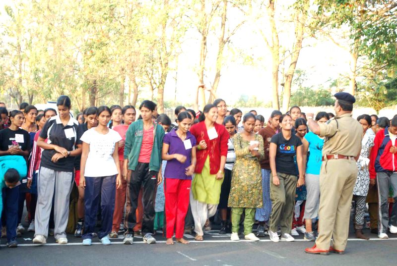 A fitness test being taken for the recruitment of women constables in Hyderabad on March 5, 2013. Around 7000 girls participated in the test.
