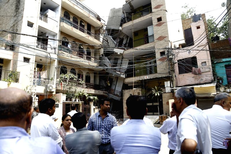 A five-storey building collapsed injuring several people in Inderpuri of New Delhi on May 6, 2017.