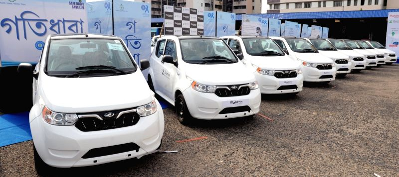 A fleet of Mahindra electric vehicles launched on Zoomcar in Kolkata, on June 13, 2018.