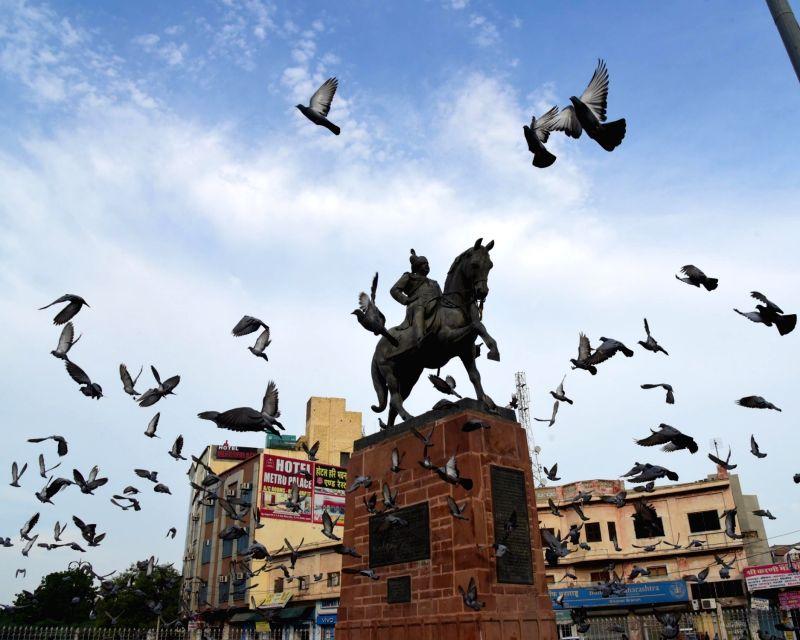 A flock of pigeons seen flying at Sadul Singh Circle, in Bikaner on Aug 9, 2018. - Sadul Singh Circle
