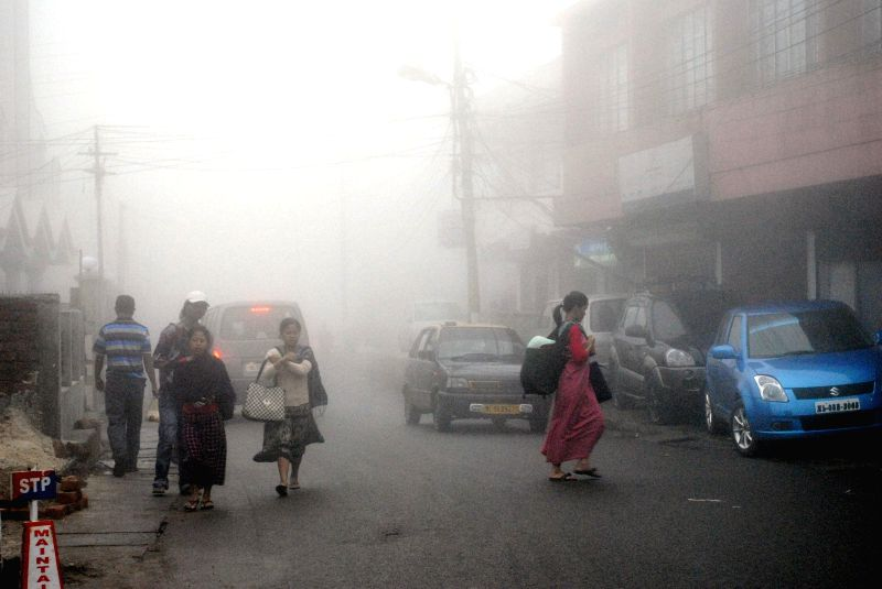 A fog cover over Police Bazzar of Shillong on Aug 21, 2014.