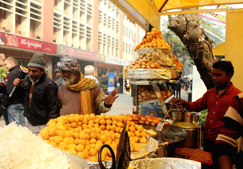 A food stall setup at 'Dilli Ke Pakwaan -2014' – a street food festival organised at Baba Kharak Singh Marg in New Delhi, on Dec 24, 2014. - Kharak Singh Marg