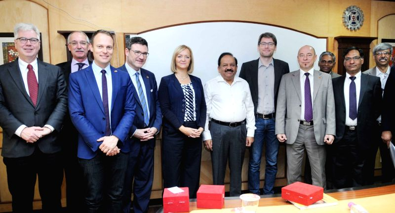 A German Parliamentary delegation calls on the Union Minister for Science & Technology and Earth Sciences, Dr. Harsh Vardhan, in New Delhi on Nov 18, 2015.