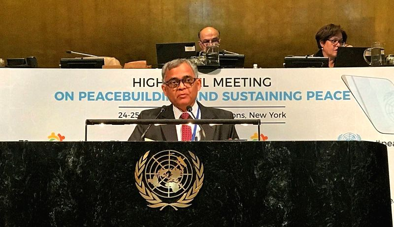 A. Gitesh Sarma, Additional Secretary in the Indian Ministry of External Affairs, addresses the high-level meeting on peacebuilding at the United Nations in New York on April 24, 2018.