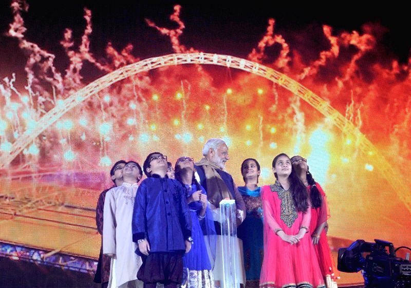 A glimpse of the Diwali celebrations after Prime Minister Narendra Modi's address, at Wembley Stadium, in London on Nov 13, 2015. - Narendra Modi