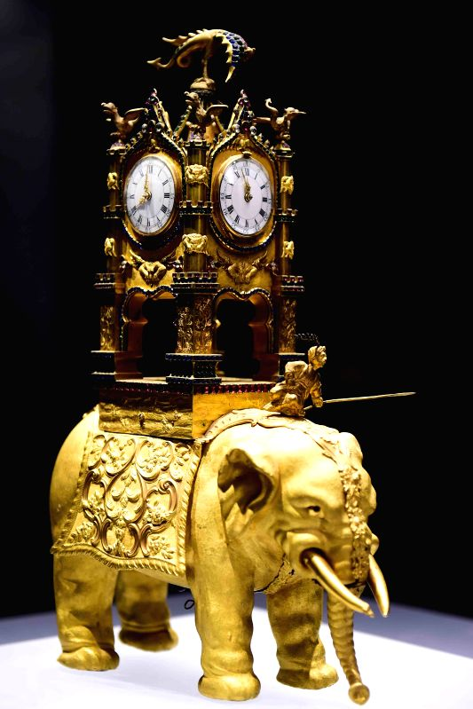 A gold-plated clock used by ancient Chinese emperors is exhibited at the Shandong Museum in Jinan, capital of east China's Shandong Province, Dec. 1, 2015. The ...