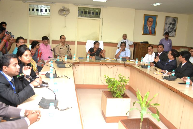 A goodwill delegation from Bangladesh meets Ghaziabad District Magistrate Nidhi Kesarwani on Aug 8, 2016.