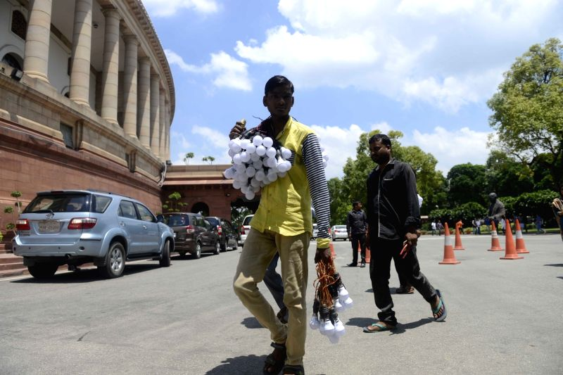 A hawker at Parliament in New Delhi, on Aug 4, 2016.