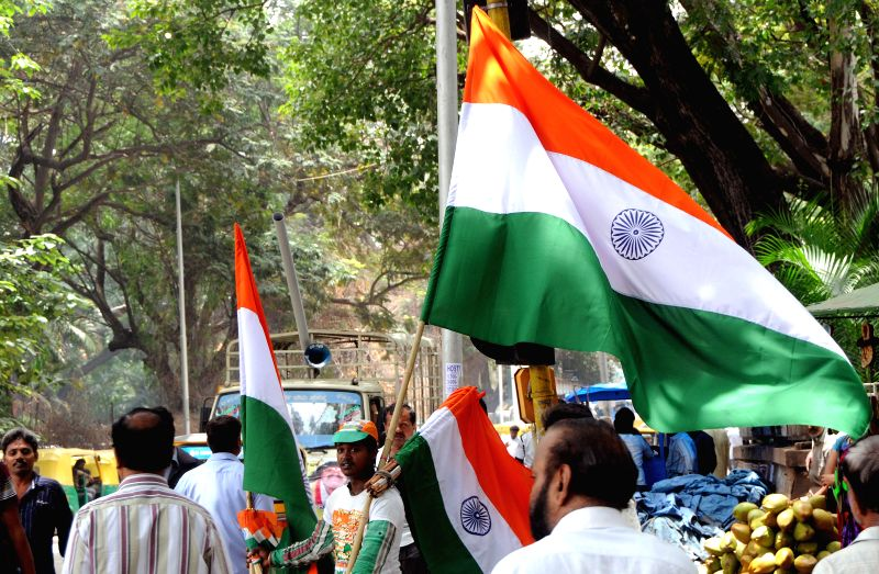 A hawker sells `tricolors` on Bangalore streets ahead of Independence Day on Aug 13, 2014.