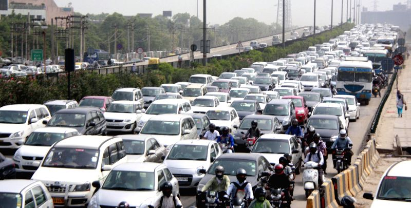 A heavy traffic jam on NH-8 in Gurgaon on July 22, 2014.