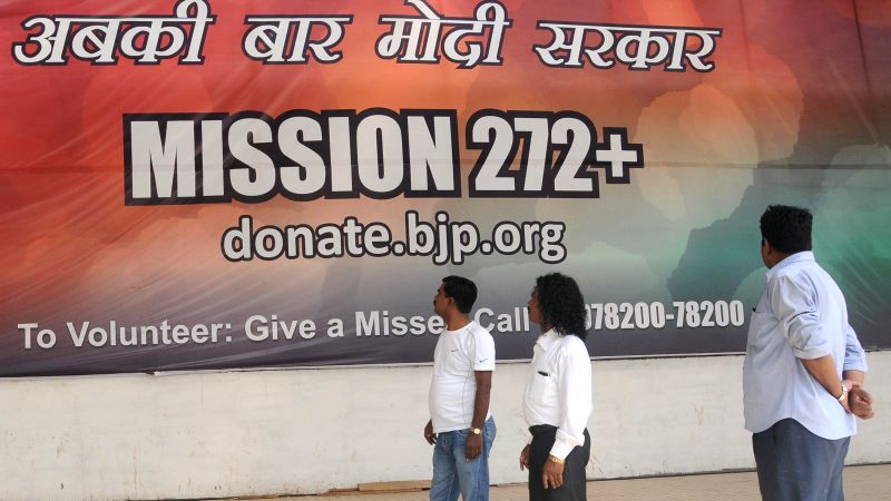 A huge hoarding at BJP headquarters in New Delhi on May 14, 2014.