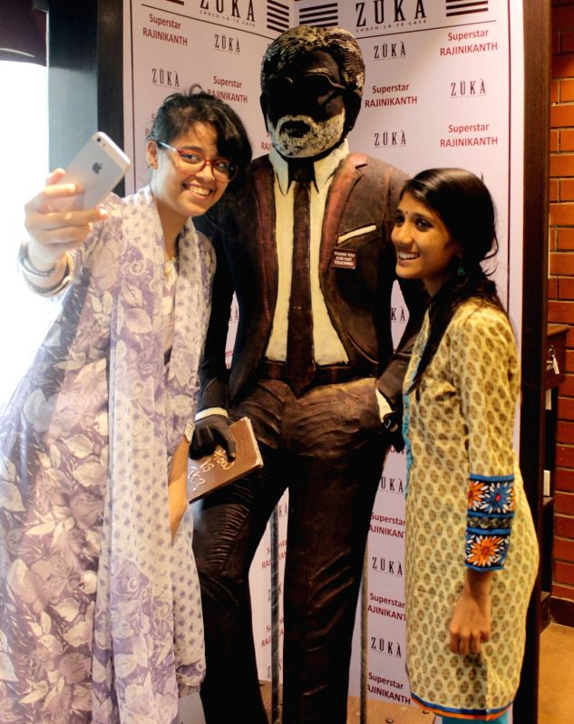 A huge statue of Rajinikanth made of 600kg of chocolate being displayed ahead of the release of film 'Kabali' in Chennai on July 20, 2016.