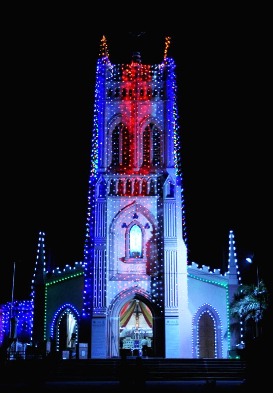 A Hyderabad Church beautifully decked up ahead of Christmas  on Dec 23, 2014.