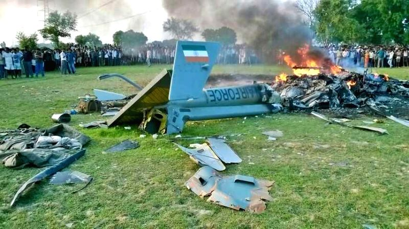 A IAF helicopter which crashed in Sitapur, Uttar Pradesh on July 25, 2014.