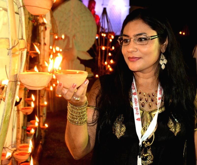 A lady at the inauguration of National Council of Indian Culture's (NCIC) 29th annual Divali Nagar celebrations in Chaguanas, Trinidad and Tobago on Nov 1, 2015.
