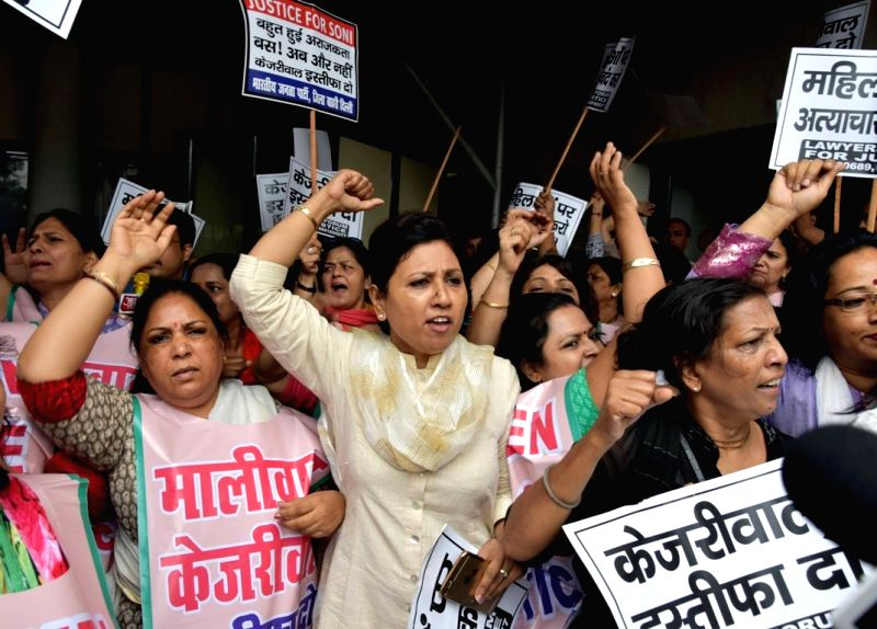 A large group of women demanding resignation of Delhi Chief Minister Arvind Kejriwal and Delhi Commission for Women Chairperson Swati Maliwal outside the Delhi Government Secretariat under ... - Arvind Kejriwal