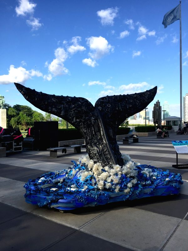 A large sculpture made from ocean plastic [image by: James Fahn/thirdpole.net]