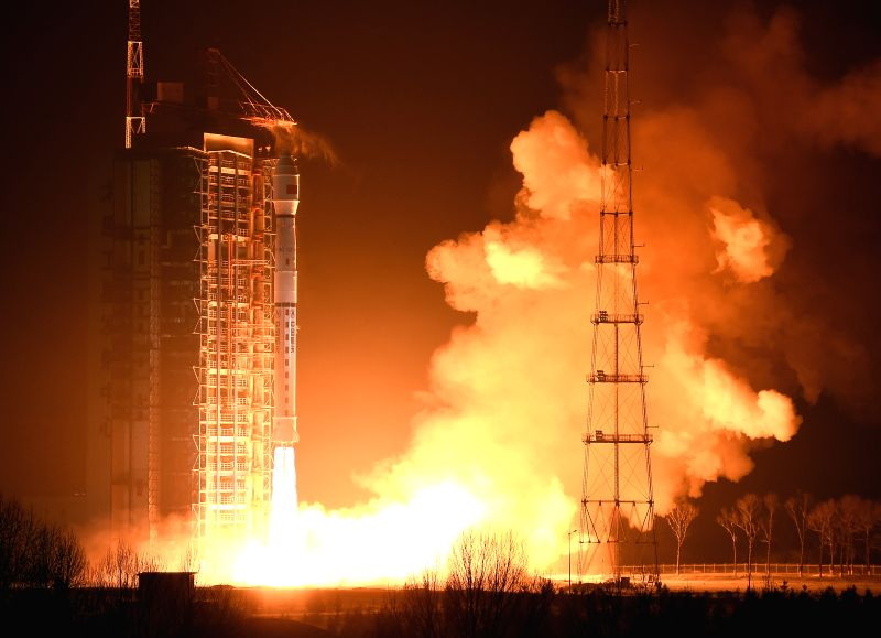 A Long March-4C rocket carrying the Yaogan-29 remote sensing satellite blasts off at the Taiyuan Satellite Launch Center in Taiyuan, capital of north China's Shanxi ...
