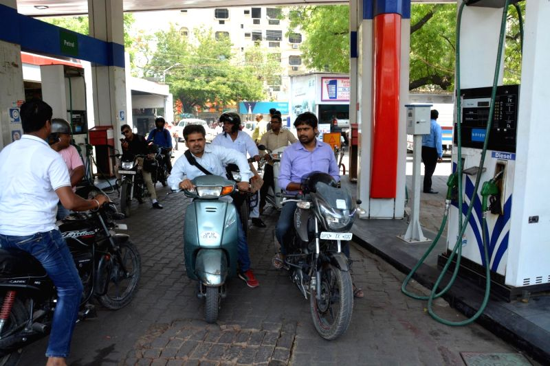 A Lucknow petrol pump remains closed after petrol pump owners went on strike to protest against joint exercise by STF and oil companies to check tampering at fuel stations on May 2, 2017.