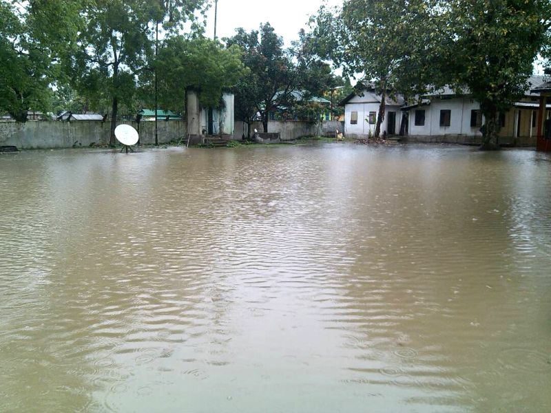 A Mahendraganj police station flooded with water in  Meghalaya\'s South West Garo Hills district  following heavy rainfalls