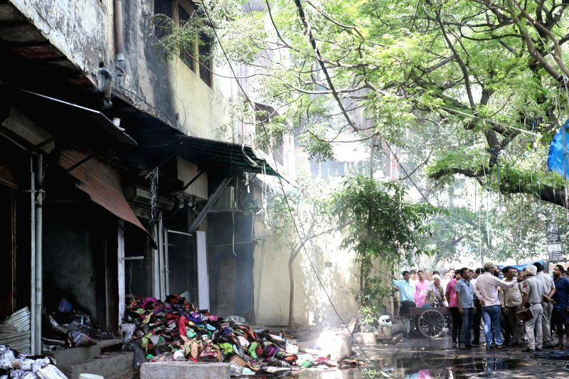 A major fire broke out in a cloth shop in Chandni Chowk, Delhi on May 23, 2017.