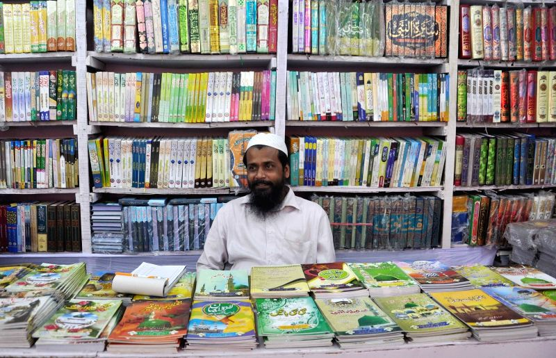 A man sits at his book stall during International Kolkata Book Fair on Feb 1, 2018.