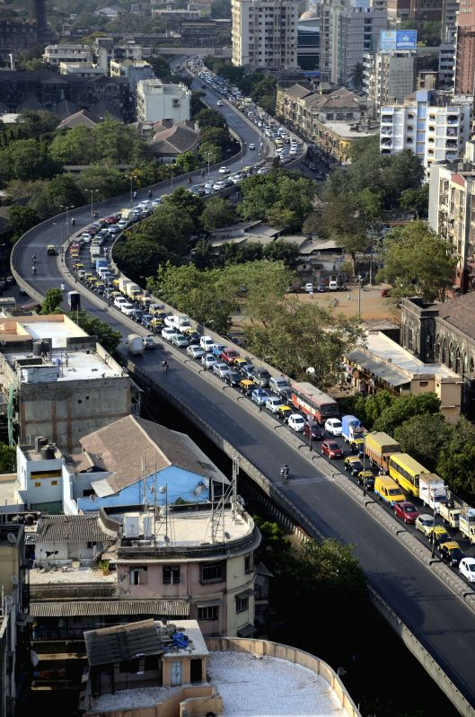 A massive traffic jam in Mumbai as repair works are going on Byculla Bridge on May 2, 2014.