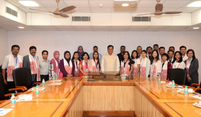 A media delegation comprising of 20 journalists from the 10 ASEAN countries, calls on Assam Chief Minister Sarbananda Sonowal, in Guwahati on July 17, 2018. - Sarbananda Sonowal