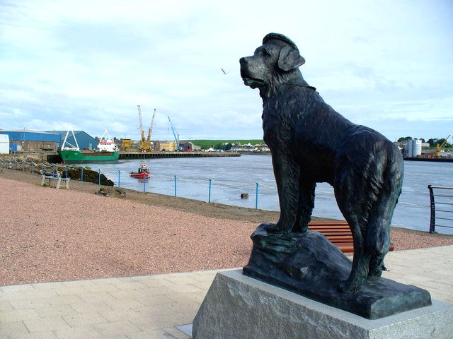 A memorial to Seadog Bamse, the mascot of the Free Norwegian Forces during World War II, in Scotland