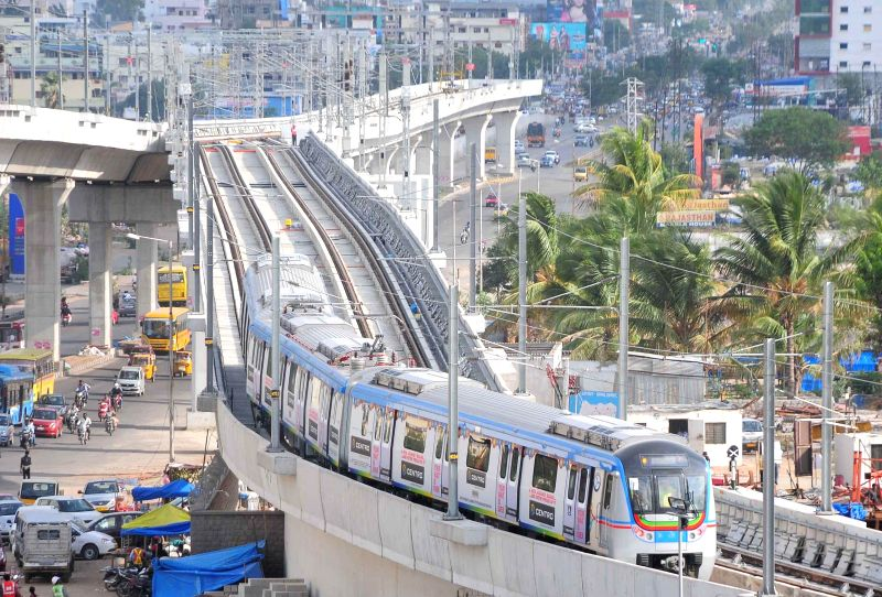 A metro train runs for the first time between Nagole Depot and Survey of India Station to test alignment, tracks, signalling and communication on the route in Hyderabad on Aug 8, 2014.