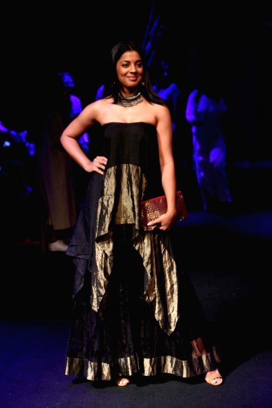 Mumbai a model displays the creation of fashion designer sanjukta