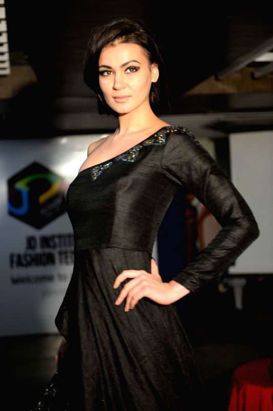 A model during a fashion show organised by a private college in Patna on Aug 21, 2014.