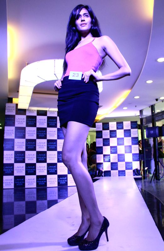 A model during Lakme auditions in Bangalore on June 26, 2014.
