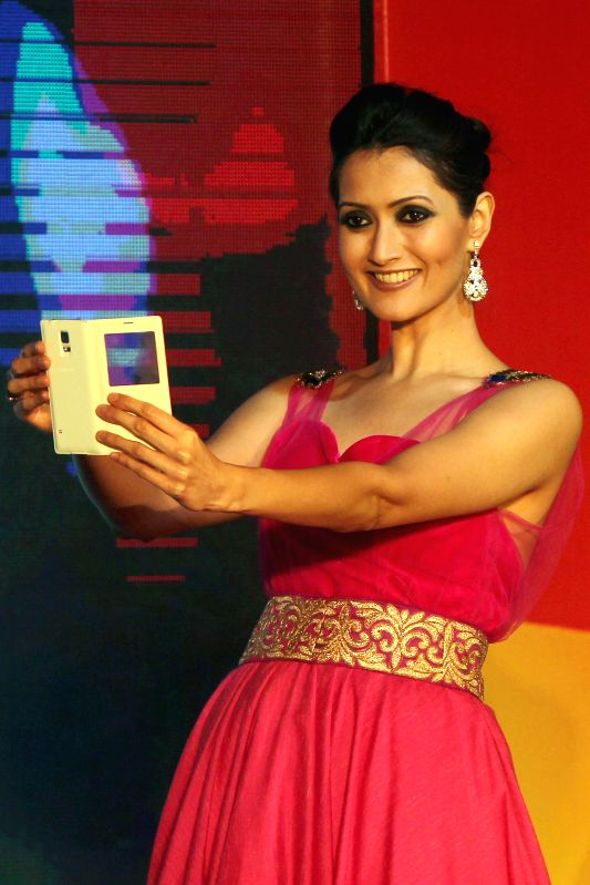 A model during launch of a Samsung Smartphone in Bangalore on April 11, 2014.