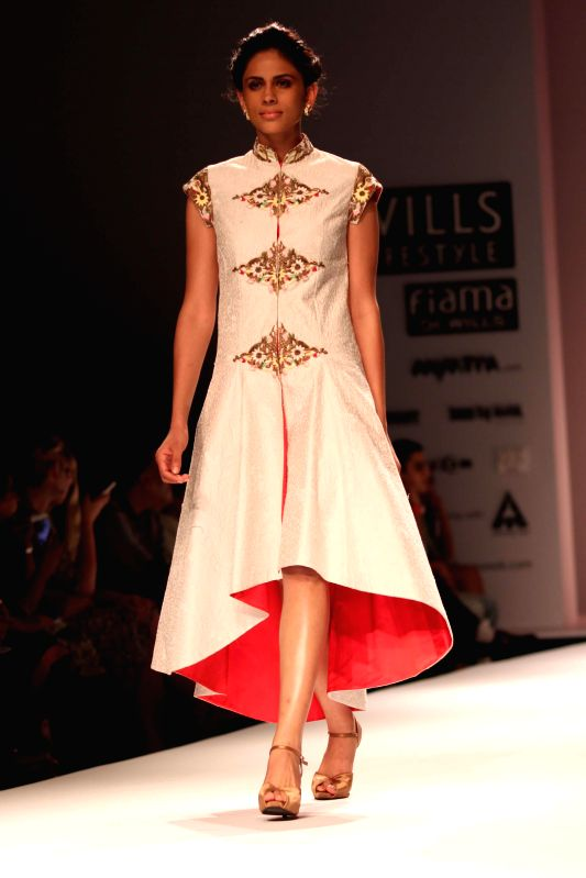 Fashion Shows 2015 India a model showcases creations of